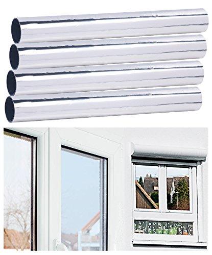 infactory Sichtschutzfolie: 4er-Set Selbsthaftende Isolier-Spiegelfolie, Sicht-/UV-Schutz, 40 cm (UV Schutzfolie)