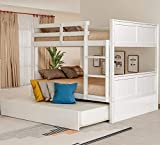 Merax Full Over Full Wood Bunk Bed with Twin Trundle Bed and Removal Ladder and Safety Rail, Can be Divided into 2 Beds, White