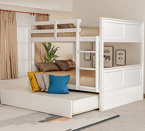 P PURLOVE Full Over Full Bunk Bed with Twin Size Trundle Bed Wood Bunk Bed Frame with Ladder Safety Rail for Teens (White)