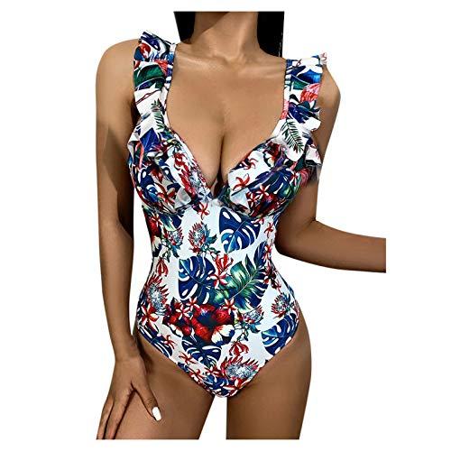 YANFANG Bañador Bikini de una Pieza con Estampado Floral de Moda Sexy Atractivo Ropa de baño para Mujer, Traje de baño con Volantes