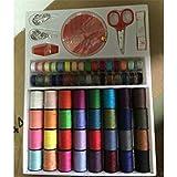 DBSUFV 64 carretes artesanales puntadas de tijera agujas herramientas accesorios para máquinas de coser hilos de coser multicolores caja de herramientas de costura