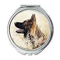 ミラー、トラベルミラー、フレンチブルドッグ犬、ポケットミラー、1 X 2X 倍の拡大鏡