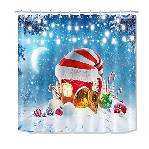Winter Schneeflocke Duschvorhang Weihnachtskugel Weihnachtsmütze Haus Zuckerstange Badezimmer Vorhang mit Haken 72x72 Zoll Wasserdicht Polyester Stoff Badezimmerdekorationen