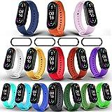 Milomdoi [19 Articulos 15 Colors Correas + 4 Pacs TPU Protector Pantalla Pulsera para Xiaomi Mi Band 6/Mi Band 5/Amazfit Band 5, Silicona Correa de Repuesto Suave-Coloridos
