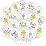 48 Pieces Cross Doves Latex Balloons Chalice Latex Balloons 12 Inch Baptism Latex Balloons God Bless You First Communion Decorations for Baptism God Christening Confirmation Supplies