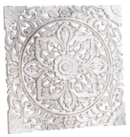 MDF Panel de pared, para colgar en la pared y cabecero (blanco envejecido, 91,4 x 91,4 cm)