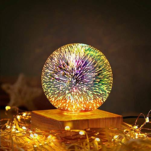Konesky Luz de Noche LED 3D, luz de Noche de Amor mágico de Cristal, decoración de Bola de Cristal USB, lámpara de Mesa, luz de Ambiente, Regalos para bebés, niños, Adultos, Fuegos Artificiales