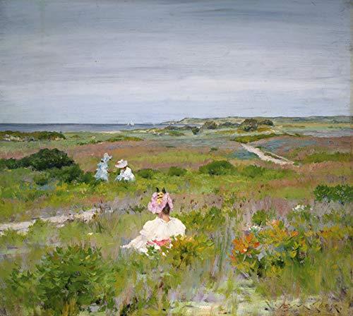 Paisagem em Shinnecock Long Island Mãe e Filhas entre a Vegetação de Dunas da Praia 1896 Pintura de William Merritt Chase na Tela em Vários Tamanhos (55 cm X 50 cm tamanho da imagem)