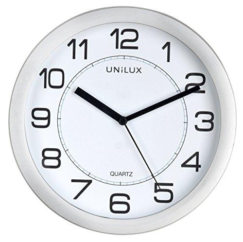 Unilux Wanduhr Magnetisch Attraction, 22 cm großes Ziffernblatt, lautlos, ohne ticken, mit modernem Ziffernblatt in silbergrau