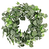 HEBE 22' Artificial Eucalyptus Wreath Large Green Leaf Wreath Farmhouse Welcome Wreaths for Front Door Spring Summer Festival Wall Window Party Decoration