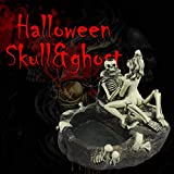 Crazy Halloween Skeleton Lover's Ashtray Statue - Cold Cast Resin Skull Cigar Stand Adult Figure - Nude Sexy Female Cigarette Holder Sculpture - Horror Sex Theme Collectible Desktop Decoration (White)