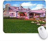 NIESIKKLAマウスパッド ピンクハウスプリンセスガール園芸植物ピンクフラワーキュート美しいプリント ゲーミング オフィス最適 高級感 おしゃれ 防水 耐久性が良い 滑り止めゴム底 ゲーミングなど適用 用ノートブックコンピュータマウスマット