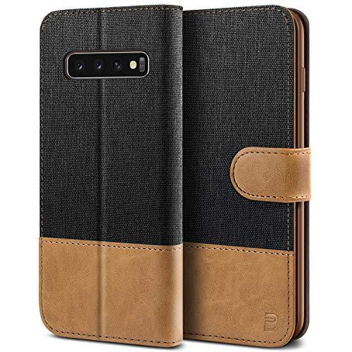 BEZ Handyhülle für Samsung Galaxy S10 Hülle, Tasche Kompatibel für Samsung Galaxy S10, Schutzhüllen aus Klappetui mit Kreditkartenhaltern, Ständer, Magnetverschluss, Schwarz