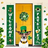 St Patricks Day Decorations Banner Hanger, Saints Porch Sign Welcome St. Patrick's Day Front Door Sign Decor Irish Green Lucky Shamrocks Party Favors Happy Patrick Banner Sign for Door Wall Window