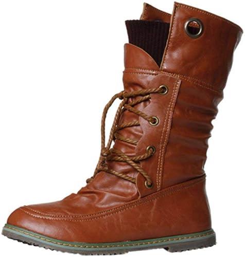 Oudan botas zapatos de mujer botas de mujer Moda de Invierno Martin botas de Vendaje botas de Tobillo de mujer zapatos Casuales de mujer botas de Nieve (Color   Café, tamaño   39 EU)