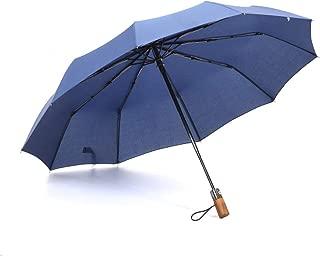 SHANGRUIYUAN-Umberllas Travel Folding Umbrella for Women Men Umbrella Windproof Durable Reinforced Canopy 10 Reinforced Fiberglass Ribs Auto Open Close (Color : Navy, Size : One Size)