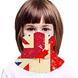Birtish and Canada Retro Flag Kids Neck Gaiter,Windproof Dustproof Face Scarf for Camping 13.8x7.9 in
