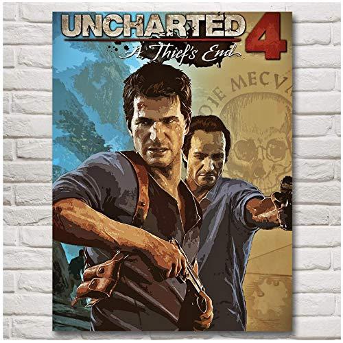 Uncharted 4 A Thiefs End Game Art Poster Print Decoración del hogar Cuadros de pintura Impresiones en lienzo Arte de la pared -50x70cm Sin marco