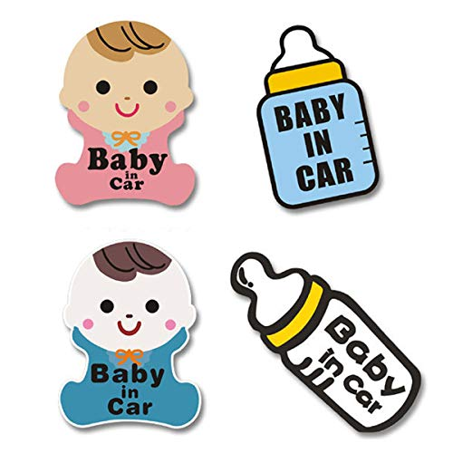 Wpxmer 4 Pack Baby in Car Stickers - Baby on Board Sign, More Noticeable Baby Signs, New and Unique Shape Warning Board