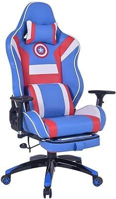 デスクチェア コンピュータゲームの競争の回転イスホームオフィスの椅子よい革人間工学的の学習の椅子コンピューターの机の椅子300KG(661lb)ウエストのオフィスの椅子のリクライニングチェアに耐えることができます (Color : Blue A)