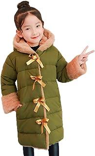 【YOUYOUOK】 子供服 ロングコート ウサギの髪 韩版 フード付き 女の子 裏起毛 アウターコート お洒落 冬物 ポケット付き 冬コート 防寒着 ガールズコットンコート 冬の服 110cm~160