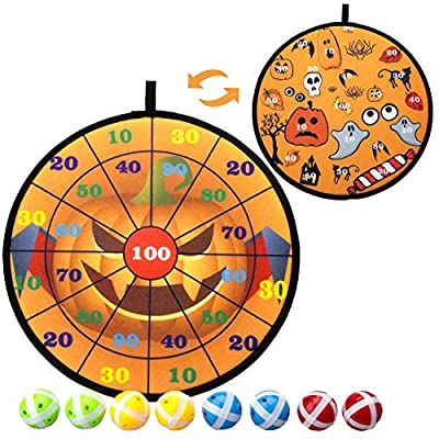 Kyerivs Dart Board Game Set for Kids Halloween Theme Dartboard with Hook and 8 Sticky Balls Family Fun Best Toy Gift for Boys and Girls Indoor Outdoor Interactive Games Diameter 14 Inch