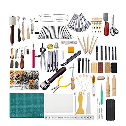 366 Pieces Leather Gereedschap Kit, Lederen maken hulpmiddelen en benodigdheden Kit, Lederen Craft Gereedschap Holder dieptrekken, Hechten perforator, leerbewerking