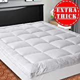SOPAT Extra Thick Mattress Topper (Calking),Cooling Mattress Pad Cover,Pillow Top Construction (8-21Inch Deep Pocket),Double Border,Down Alternative Fill,Breathable