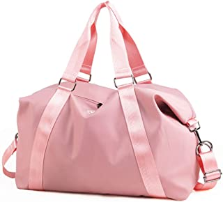 Travel Luggage Bag, Sports Gym Bag, Handbag Carry, Foldable Duffle Bag, Portable Handbag, Adjustable Shoulder Strap, Overnight Camping, (Color : Pink)
