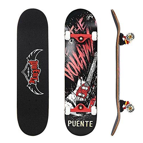 NACATIN 608 Skateboard Komplettboard mit ABEC-9 Kugellager 92A PU Räder 7-langigem Ahornholz 80x20cm