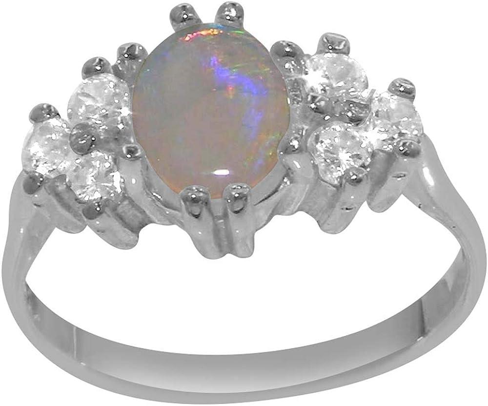 LetsBuyGold 14k White Gold Superlatite Natural Womens Opal Clust and Virginia Beach Mall Diamond