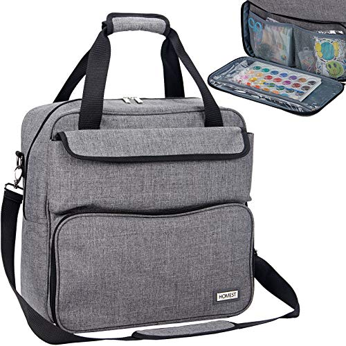 HOMEST Scrapbooking Storage Tote, Portable Travel Craft Bag, Handle Carrier for Craft Tool, Grey