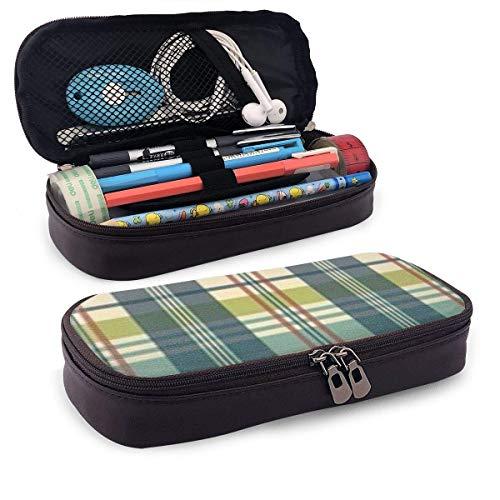 XCNGG Estuche para lápices neceser Plaid PU Leather Pencil Case School Office Use Zipper Stationery Organizer
