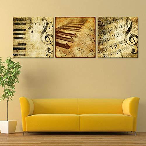 UDPBH 3 Panel Hd gedrukte canvas poster lijst wooncultuur woonkamer muurkunst klassieke piano muziek notes schilderij