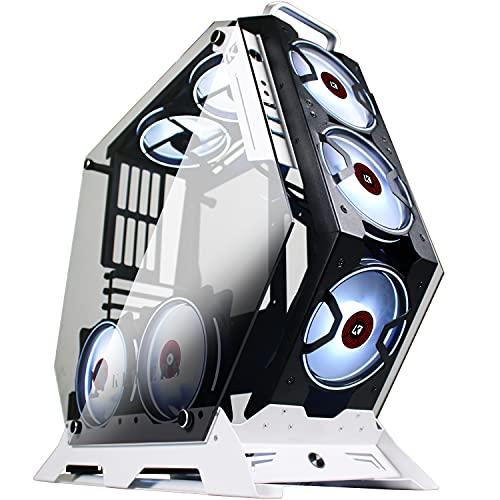 KEDIERS 7 PCS RGB-Lüfter ATX Mid-Tower PC-Gehäuse Gaming Tower-Gehäuse - USB3.0 - Fernbedienung - 2 gehärtetes Glas - Kühlsystem - Luftstrom - Kabelmanagement
