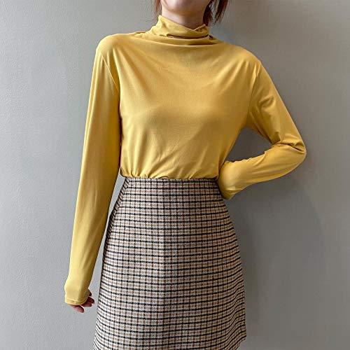 Camisa De Mujer Poliéster Otoño Medio Cuello Alto Camisa con Fondo Pullover Manga Larga Mujer Delgado Adecuado para Varias Escenas-Amarillo