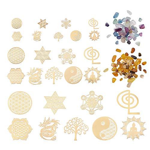 Beadthoven - 30 pegatinas de orgonita de cobre, 10 estilos, geometría sagrada, material de torre de energía, flor de la vida, pegatinas de chakra con 30 g de cuentas de gemas para manualidades