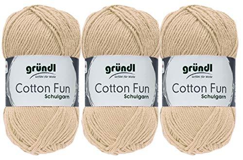 3x50 Gramm Gründl Cotton Fun Häkelgarn Schulgarn aus 100% Baumwolle + 1 Anleitung für EIN Meerschwein (Neu Beige)