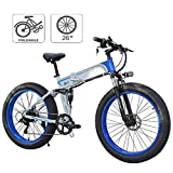 JIEER Folding Electric Bikes for Adults, Mountain Bike 7 Speed Steel Frame 26 Inches Wheels Dual Suspension Folding Bike E-Bike Lightweight Bicycle for Unisex
