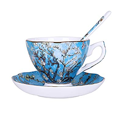 """Vincent Willem van Gogh Bone China Tea Cup and Saucer Set With Gift Box,""""Blossoming Almond Tree"""" Art Coffee Mugs Set"""