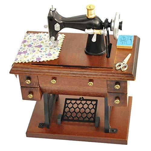 ZHOUMEI Goed voor de hersenen Music Box Naaimachine Houten Muziekdoos Vintage Hout Craft Home Decoratie Huisdecoratie Ambachten (Kleur : Foto Kleur, Maat : 17X9.5X20CM)