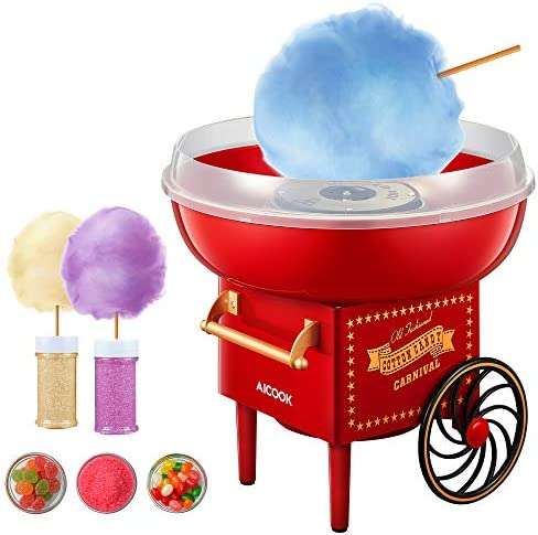 AICOOK Cotton Candy Machine for Kids Vintage Style Cotton Candy Maker with Sugar Scoop and 10 product image