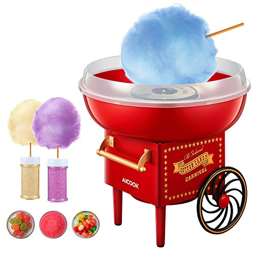 AICOOK Cotton Candy Machine for Kids, Nostalgia Cotton Candy Maker Include Sugar Scoop and 10 Cones, Homemade Sweets for Birthday Parties, Children