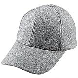Samtree Unisex Woolen Baseball Cap,Winter Wide Brim Warm Snapback Hat (01-Light Grey(Woolen))