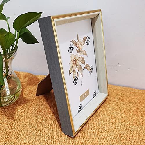 LZYMLG Marco de fotos de madera gris de 8,9 x 12,7 cm con borde grueso dorado para decoración de escritorio de la pared, regalos de familiares y amigos