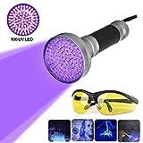 100 LED Linterna Ultravioleta UV con Gafas Protección, Linterna de Mano de Violado Para Detectar Escorpiones/Agente Fluorescente/Orina del Perro Mascota/Moneda (Negro)