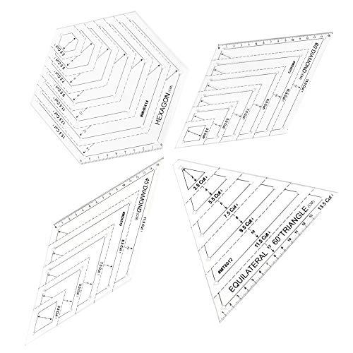 OLRWSLG 4 Stück Quilten Patchwork Lineal Acryl Transparent Steppen Lineal Quilting Lineal Vorlagen Dreieck Sechseck Quilten Lineal 45 Grad und 60 Grad Diamant Patchwork Lineal für DIY Nähen Basteln