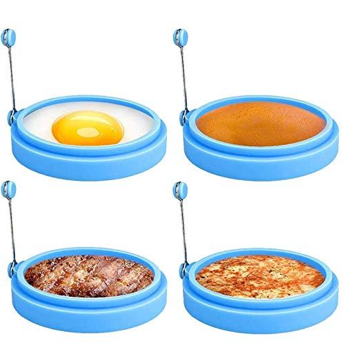 Anillos de Silicona Para Huevos, Cocina de Huevos de Grado Alimenticio de 4 Pulgadas, Molde Antiadherente Para Huevos Fritos, Sándwiches de Desayuno de Panqueques, Anillo de Huevo Mcmuffin (Az