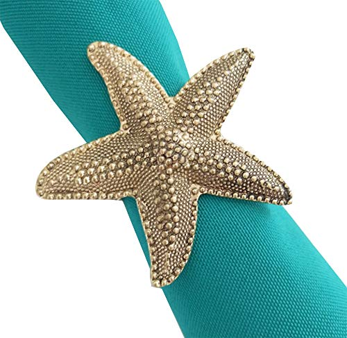 Fennco Styles Coastal Starfish Metal Napkin Rings, Set of 4 - Bronze Napkin Holders for Home Decor, Dining Table, Banquets, Family Gathering and Special Occasions