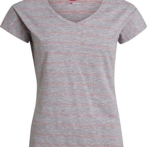 Berghaus Camiseta de Manga Corta Explorer Optic Crew Tech para Mujer, Mujer, 4A000879DP1, Niebla del Puerto/Cayenne, 48